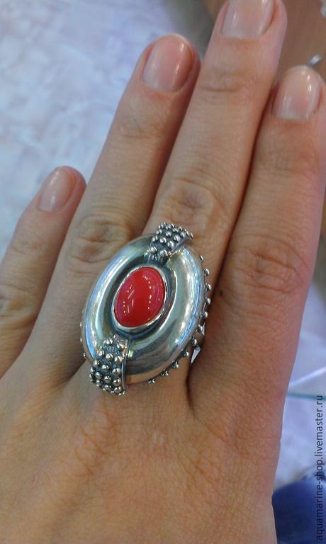 Кольца ручной работы. Ярмарка Мастеров - ручная работа. Купить Кольцо Кольвия. Handmade. Ярко-красный, серебро 925