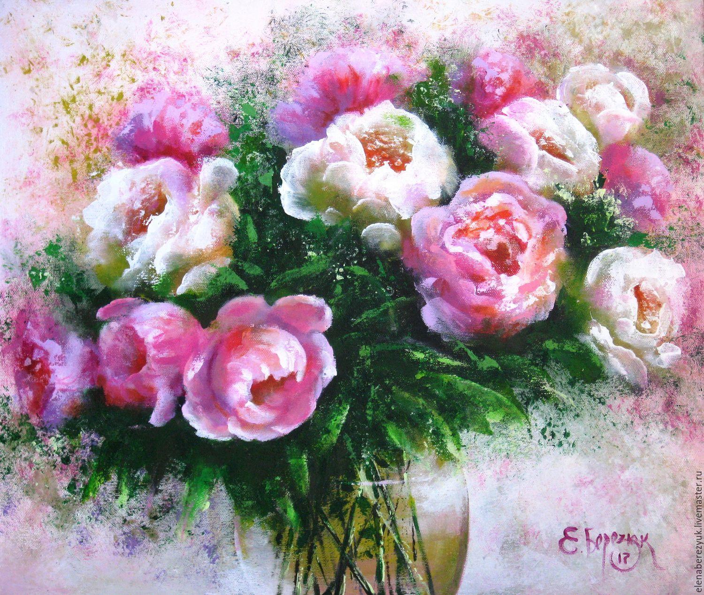 Flower Painting Handmade. Livemaster   Handmade. Buy Original Acrylic  Painting On Canvas Peonies In ...