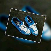 Обувь ручной работы handmade. Livemaster - original item Zapatos de ganchillo. DE PUNTO CALZADO DE CALLE. El color azul.. Handmade.
