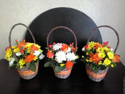 Персональные подарки ручной работы. Ярмарка Мастеров - ручная работа. Купить Цветочная корзина. Handmade. Подарок, корзина с цветами