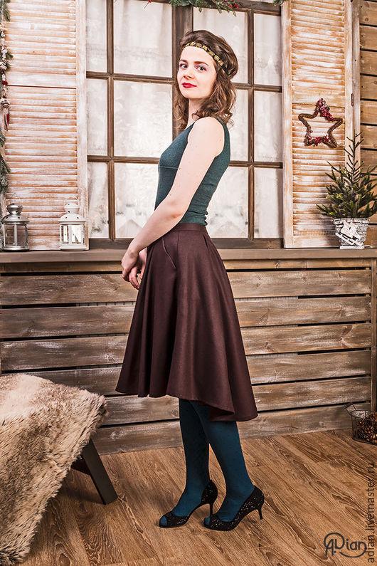 Юбки ручной работы. Ярмарка Мастеров - ручная работа. Купить Теплая юбка из шерсти (коричнево-фиолетовая). Handmade. Коричневый