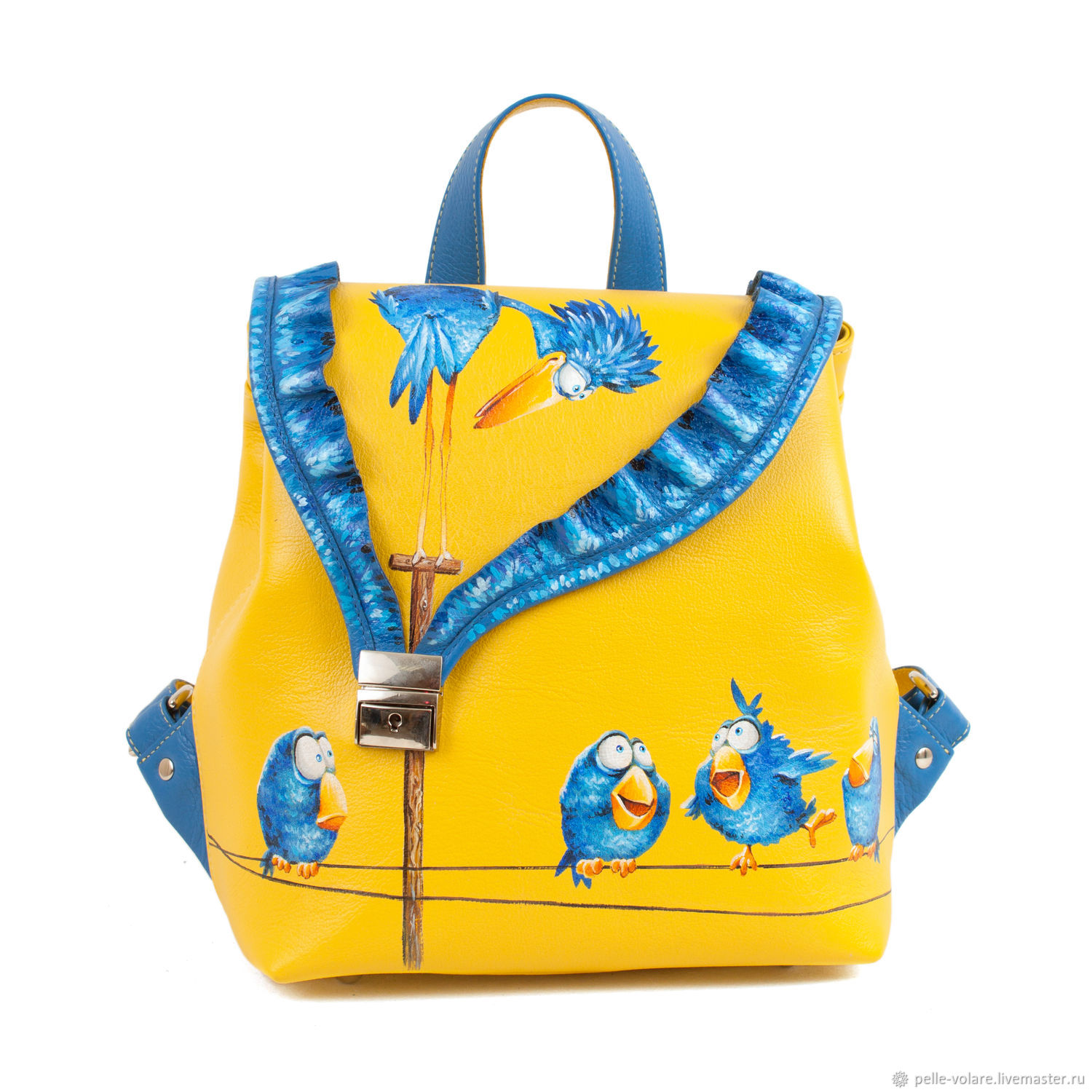 Women's leather backpack ' birds on the wire', Backpacks, St. Petersburg,  Фото №1