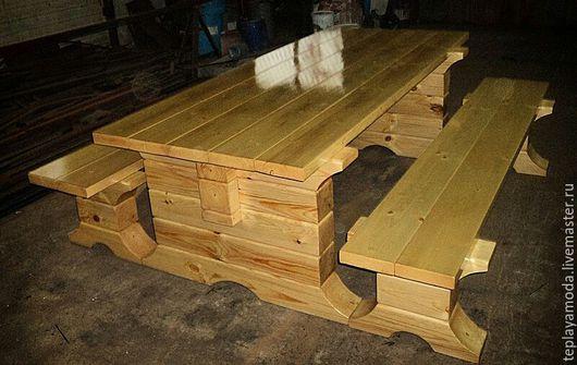 Мебель ручной работы. Ярмарка Мастеров - ручная работа. Купить Стол и 2 скамейки из сосны (комплект). Handmade. Мебель из дерева