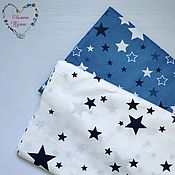 Материалы для творчества handmade. Livemaster - original item Fabric cotton dark blue stars on white. Handmade.