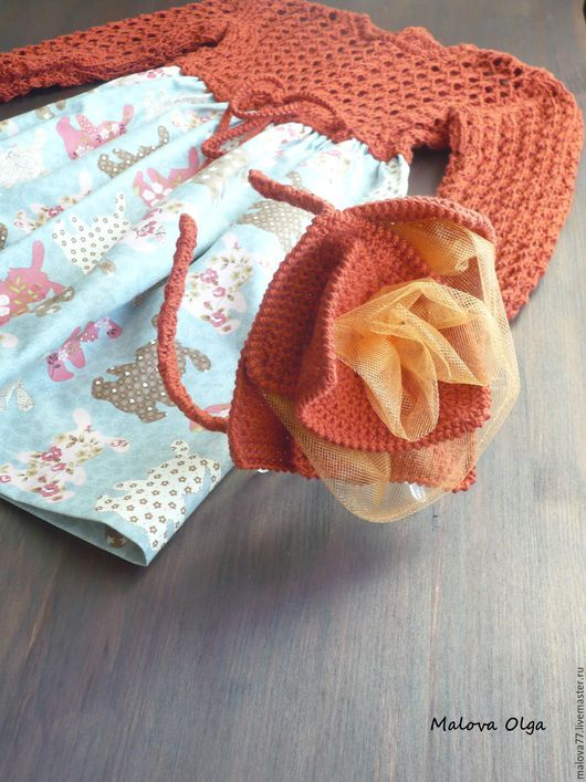 Одежда для девочек, ручной работы. Ярмарка Мастеров - ручная работа. Купить Комбинированное платье для девочки с ободком.. Handmade. Рыжий