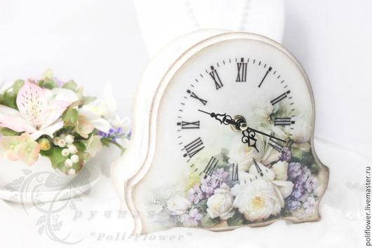 """Часы для дома ручной работы. Ярмарка Мастеров - ручная работа. Купить Часы настольные (каминные) """"Rose bianche"""". Декупаж.. Handmade."""
