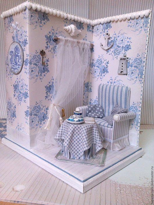 """Кукольный дом ручной работы. Ярмарка Мастеров - ручная работа. Купить Румбокс """"Морской"""". Handmade. Миниатюра, румбокс, юбилей"""