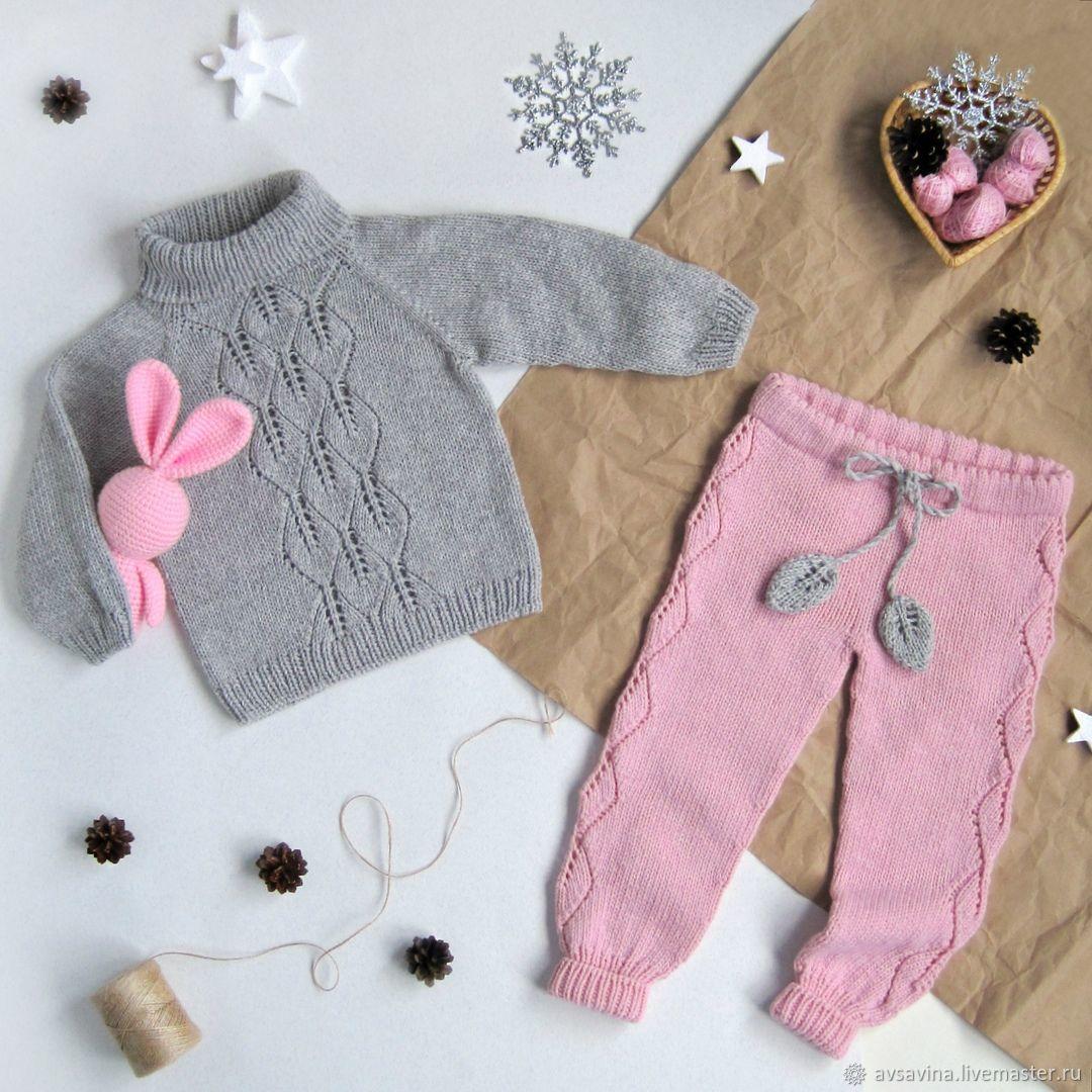 детская вязаная кофточка и штанишки Leaf серый розовый купить в