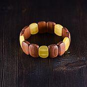 Украшения handmade. Livemaster - original item Bracelet made of wood and natural Baltic amber. Handmade.