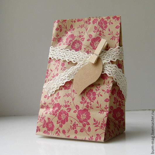 Упаковка ручной работы. Ярмарка Мастеров - ручная работа. Купить Крафт-пакет ЦВЕТЫ красные (10х19х7см). Handmade. Упаковка для подарка