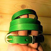 Аксессуары handmade. Livemaster - original item SLIM STRAP LEATHER GREEN. Handmade.