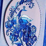 """Картины и панно ручной работы. Ярмарка Мастеров - ручная работа Мастер-класс  """"Синяя птица"""" вышивка лентами .. Handmade."""