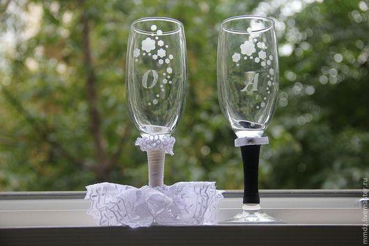 Подарки на свадьбу ручной работы. Ярмарка Мастеров - ручная работа. Купить Свадебные бокалы. Handmade. Чёрно-белый, бокалы для свадьбы