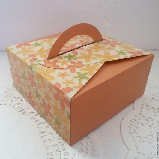 Упаковка ручной работы. Ярмарка Мастеров - ручная работа. Купить Коробочка с ручкой оранжевая цветочная 14х14х6,5см. Handmade. Коробка