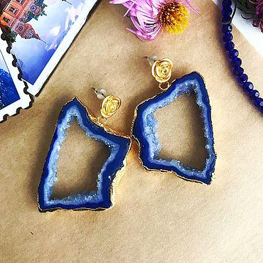 Decorations handmade. Livemaster - original item Earrings: cut quartz BLUE. Handmade.