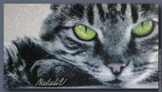 Вышивка ручной работы. Ярмарка Мастеров - ручная работа. Купить Дизайн машинной вышивки. Задумчивый кот. Фотосежок.. Handmade. Серый