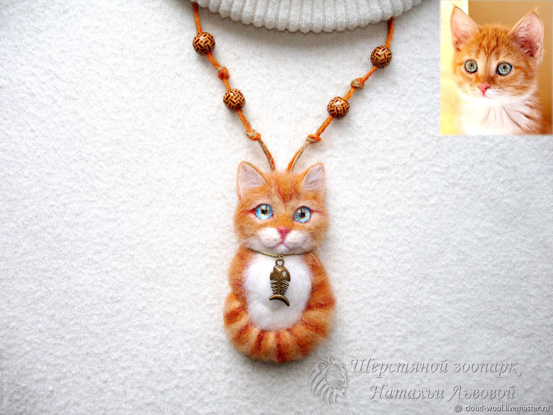 Брошь – кулон Котик из шерсти рыжий кот, портретный  котёнок Cat, Брошь-булавка, Сочи,  Фото №1