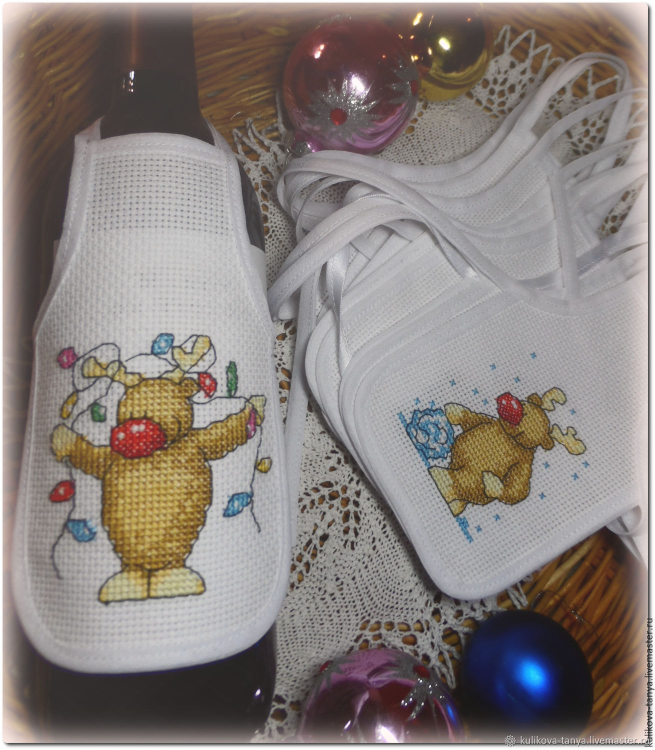 Apron on a new year's bottle.New year's gift, Christmas gifts, Izhevsk,  Фото №1