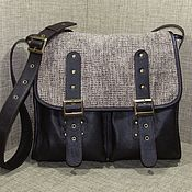 Сумки и аксессуары handmade. Livemaster - original item Men`s messenger shoulder bag genuine leather and textile HELIOS. Handmade.