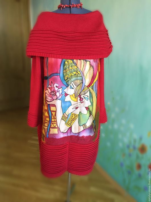 Большие размеры ручной работы. Ярмарка Мастеров - ручная работа. Купить Отражения Платье вязаное с декором батик + валяние. Handmade.