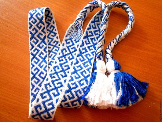 Ткачество ручной работы. Ярмарка Мастеров - ручная работа. Купить Очелье тканое (3). Handmade. Синий, ткачество на бердо