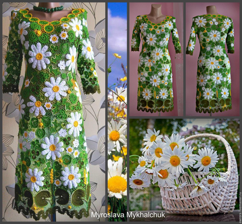 Платье ромашки вязание