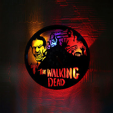 For home and interior handmade. Livemaster - original item Wall clock with LED light from the plate the Walking Dead. Handmade.