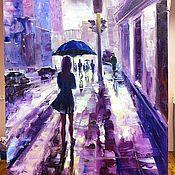 Картины и панно ручной работы. Ярмарка Мастеров - ручная работа Картина маслом - Девушка под дождем. Handmade.