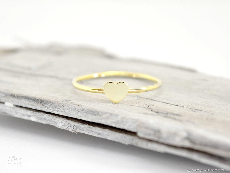 Кольца ручной работы. Ярмарка Мастеров - ручная работа. Купить Золотое кольцо Сердечко, желтое золото 585 пробы. Handmade.