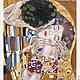 Текстильный купон ручная роспись- `Поцелуй` (Г.Климт)