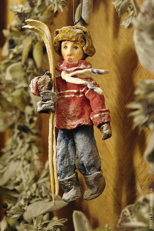 Коллекционные куклы ручной работы. Ярмарка Мастеров - ручная работа. Купить Елочная игрушка из ваты. Коля.. Handmade. Синий