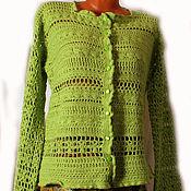 """Одежда ручной работы. Ярмарка Мастеров - ручная работа Вязаный жакет """"Весенняя зелень"""". Handmade."""