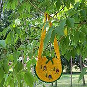 Работы для детей, ручной работы. Ярмарка Мастеров - ручная работа Сумка жёлтая детская  хлопковая вязаная Весёлые домики. Handmade.