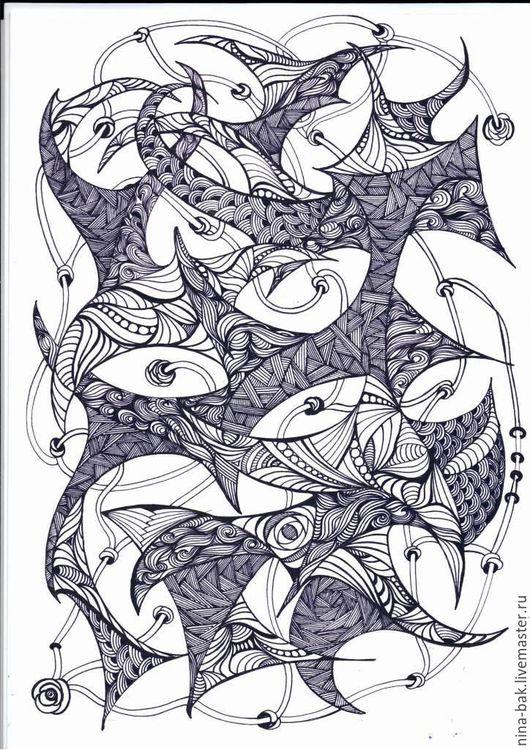 Абстракция ручной работы. Ярмарка Мастеров - ручная работа. Купить Птички. Handmade. Зентагл, чёрно-белый, интеръер, необычный подарок