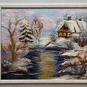 """Картины и панно ручной работы. Ярмарка Мастеров - ручная работа Картина """"Зимний вечер"""". Handmade."""