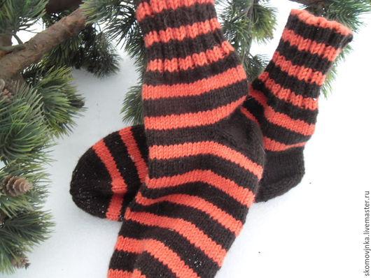 Носки, Чулки ручной работы. Ярмарка Мастеров - ручная работа. Купить носки мужские Амурский тигр. Handmade. Рыжий, полушерсть