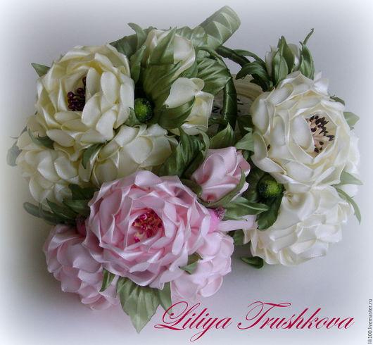 Диадемы, обручи ручной работы. Розы из атласной ленты.. ЛилиТ. Интернет-магазин Ярмарка Мастеров. Розы из ткани