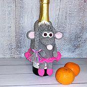 Год Крысы 2020 ручной работы. Ярмарка Мастеров - ручная работа Украшение шампанского, крыса - символ 2020. Handmade.
