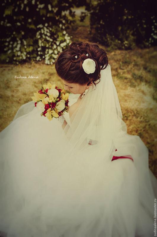 Свадебные украшения ручной работы. Ярмарка Мастеров - ручная работа. Купить Rosa Нежный маленький цветок из ткани.. Handmade. Бежевый