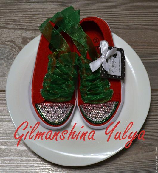 Обувь ручной работы. Ярмарка Мастеров - ручная работа. Купить Арбузный бум. Handmade. Коралловый, кеды, аксессуар, для мамы, арбузный