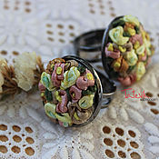 """Украшения ручной работы. Ярмарка Мастеров - ручная работа Колечко """"Весенние цветы"""" вышивка. Handmade."""