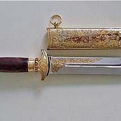 Сувениры и подарки handmade. Livemaster - original item A Hunting Dagger.Stainless steel EI-107.Cover with gold.Fianits. Handmade.