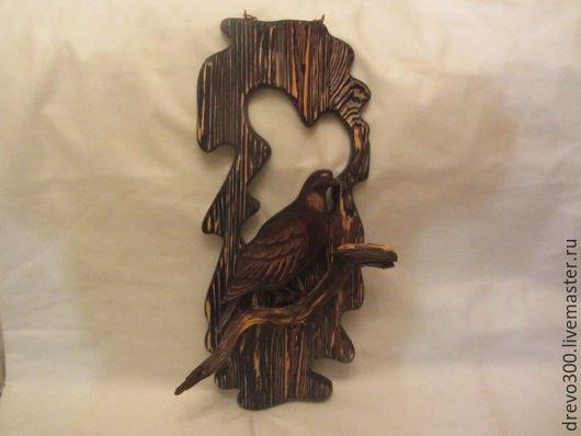 """Животные ручной работы. Ярмарка Мастеров - ручная работа. Купить Панно """"Дикий голубь"""". Handmade. Коричневый, панно из дерева, ель"""