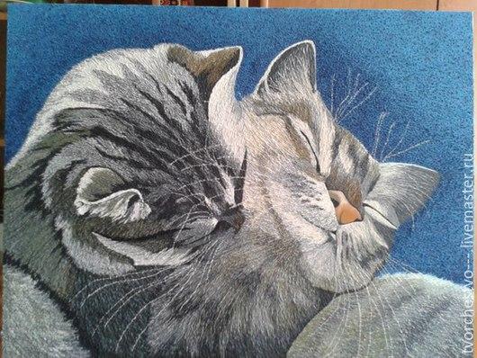 """Репродукции ручной работы. Ярмарка Мастеров - ручная работа. Купить Холст на подрамнике, масло...""""Коты"""". Handmade. Разноцветный, животные, картина"""