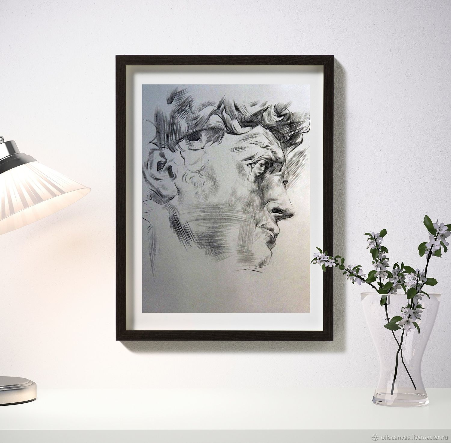 Black and white painting 'Ciao Michelangelo' 43h31 cm, Pictures, St. Petersburg,  Фото №1