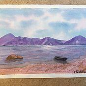 Картины ручной работы. Ярмарка Мастеров - ручная работа Пейзаж с лодкой. Handmade.