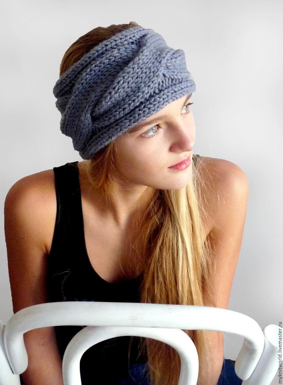 Теплая объемная вязаная повязка на голову, Повязки, Москва,  Фото №1