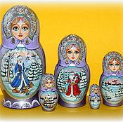 """Русский стиль ручной работы. Ярмарка Мастеров - ручная работа Матрёшка""""Новогодняя"""" 5 мест. Handmade."""