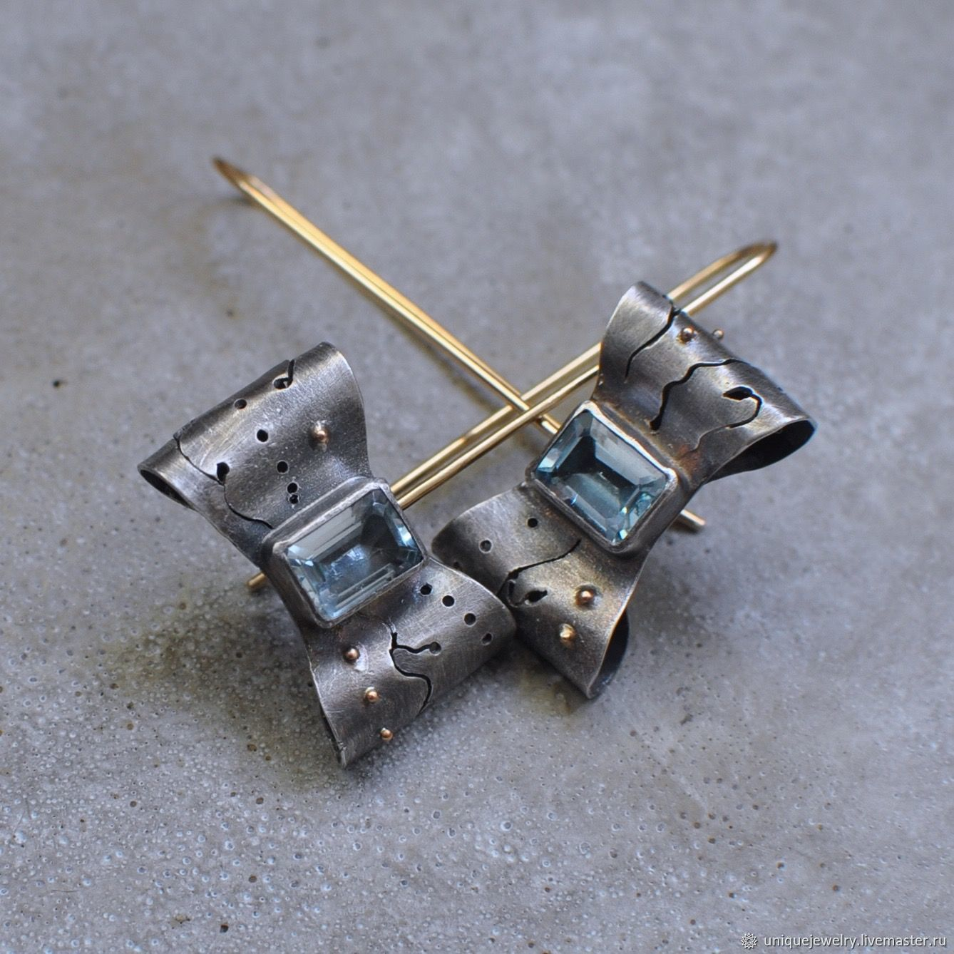 Earrings bows with Topaz, silver, gold and Goldfield, Earrings, Moscow,  Фото №1