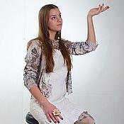 """Одежда ручной работы. Ярмарка Мастеров - ручная работа Кофточка хлопковая """"Интрига"""" , контактное крашение, эко-принт.. Handmade."""